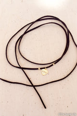 Alpha Chi Omega Leather Wrap Necklace