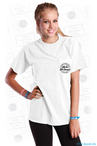 Alpha Chi Omega Motto Pocket Tee