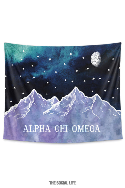 Alpha Chi Omega Mountain Night Tapestry