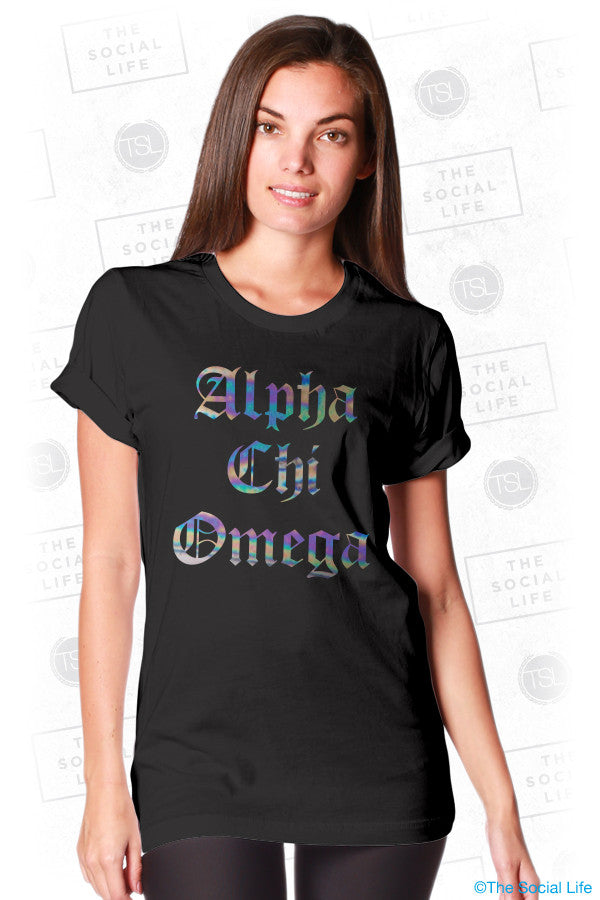 Alpha Chi Omega Calligraphy Tee