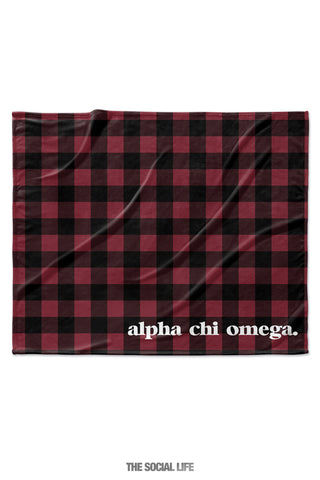 Alpha Chi Omega Plaid Velvet Plush Blanket