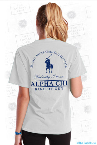 Alpha Chi Omega Polo Guy Tee