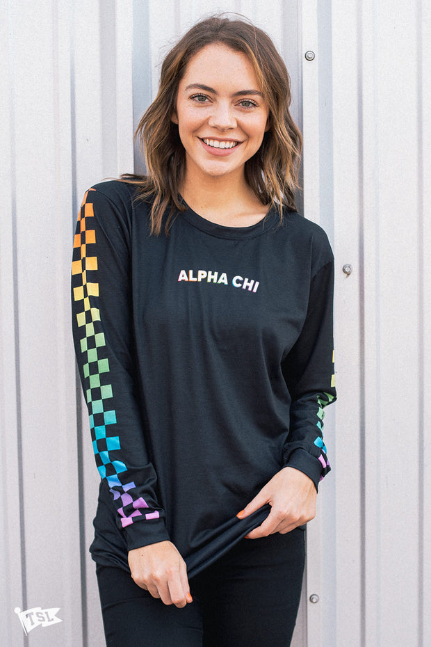 Alpha Chi Omega Rainbow Checkered Long Sleeve