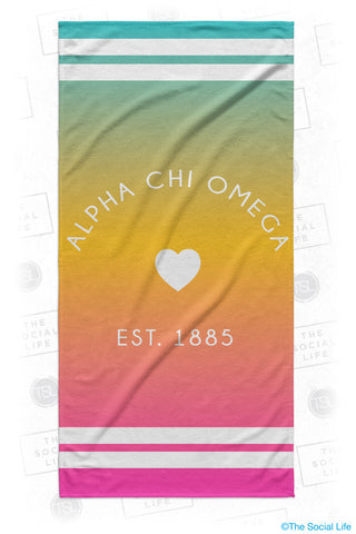 Alpha Chi Omega Rainbow Heart Beach Towel