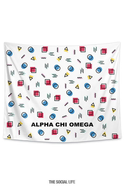 Alpha Chi Omega Squigglies Tapestry