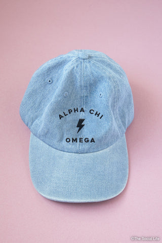 Alpha Chi Omega Denim Striker Cap