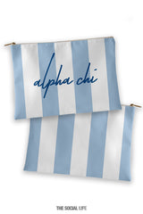 Alpha Chi Omega Striped Cosmetic Bag