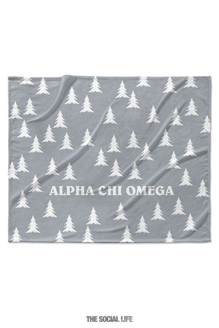 Alpha Chi Omega Grey Pines Velvet Plush Blanket