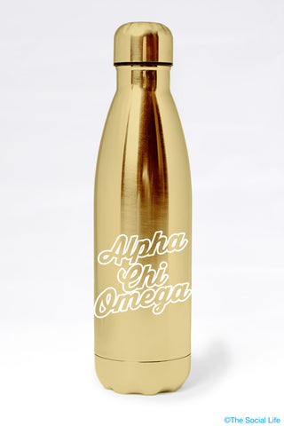 Alpha Chi Omega Metallic Gold Water Bottle