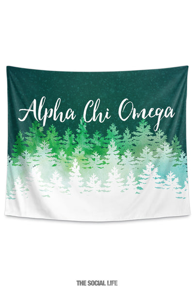 Alpha Chi Omega Cascading Pines Tapestry