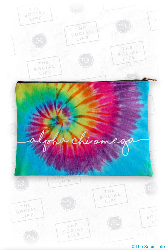 Alpha Chi Omega Tie Dye Cosmetic Bag