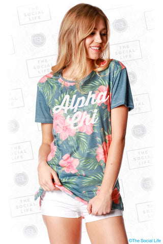Alpha Chi Omega Vintage Hawaiian Scoop Tee