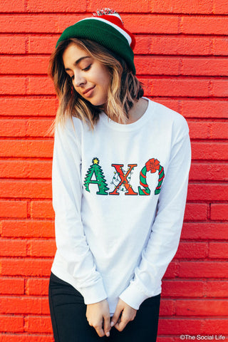 Alpha Chi Omega XMAS Letters Long Sleeve