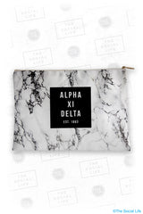 Alpha Xi Delta White Marble Cosmetic Bag