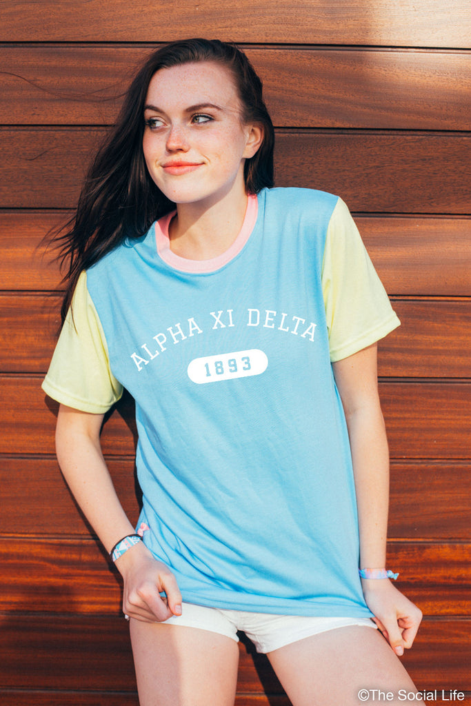 Alpha Xi Delta Color Block Tee