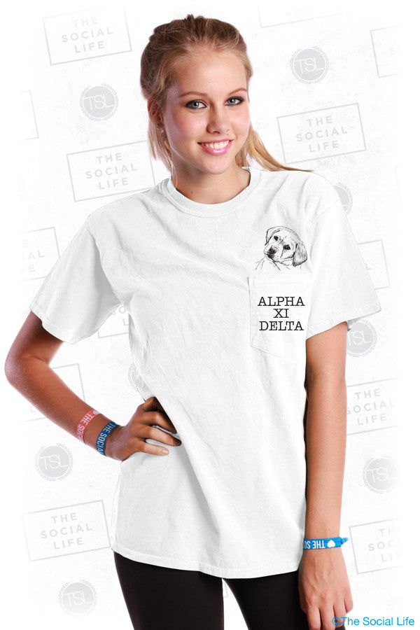 Alpha Xi Delta Puppy Pocket Tee