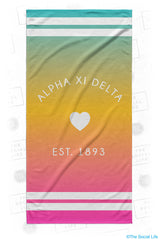 Alpha Xi Delta Rainbow Heart Beach Towel