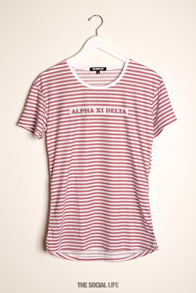 Alpha Xi Delta Red Stripe Scoop Tee