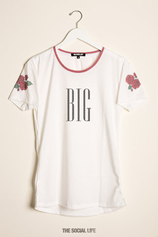 Big Rose Shoulder Scoop Tee