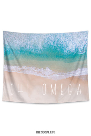 Chi Omega Beach Tide Tapestry