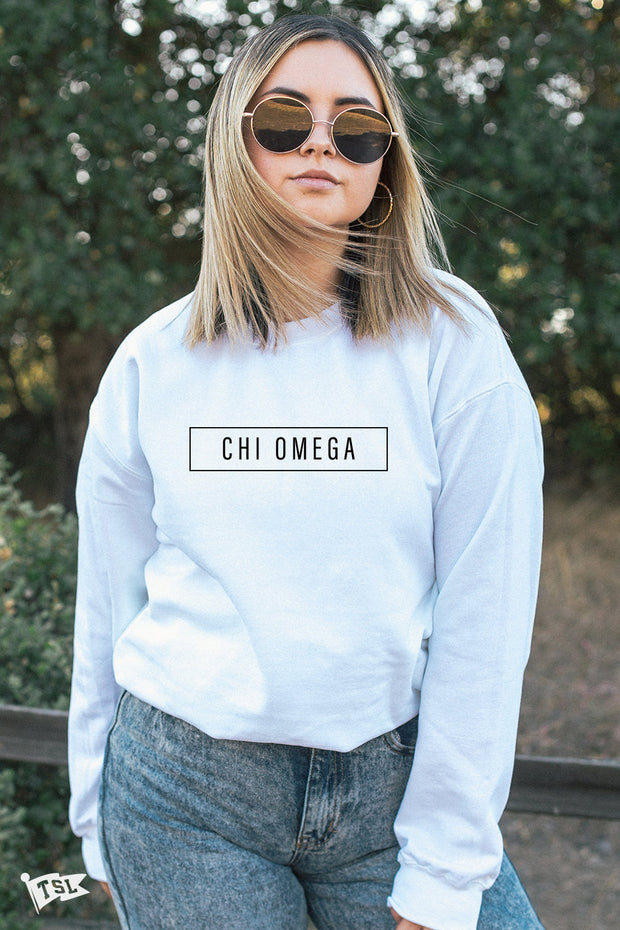 Chi Omega Blocked Crewneck