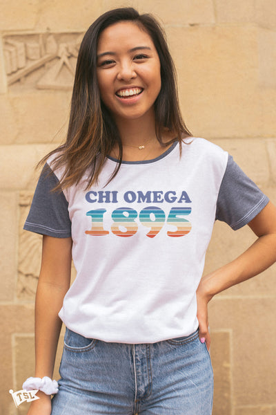 Chi Omega Boardwalk Scoop Tee