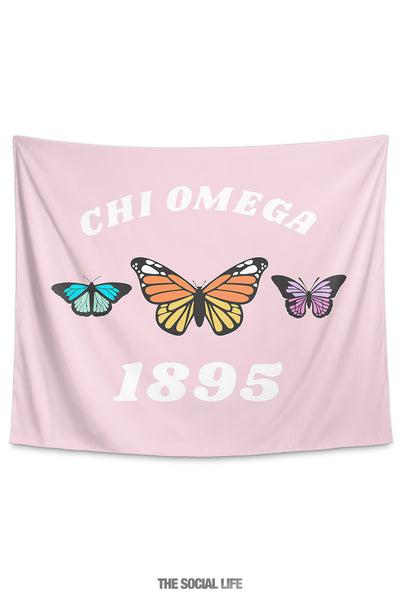 Chi Omega Butterfly Tapestry