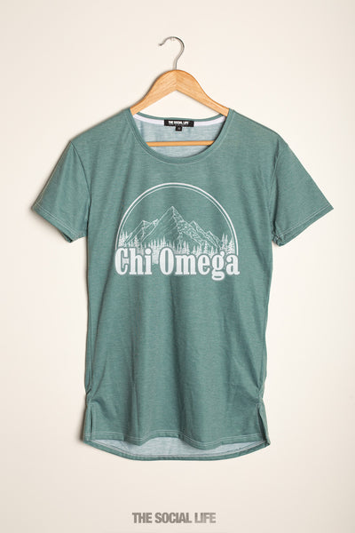 Chi Omega Forest Scoop Tee