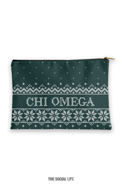 Chi Omega Holiday Cosmetic Bag