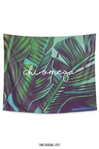 Chi Omega Painted Palms Tapestry