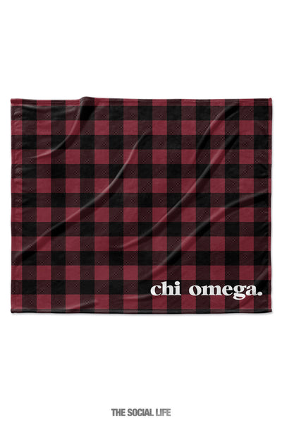 Chi Omega Plaid Velvet Plush Blanket
