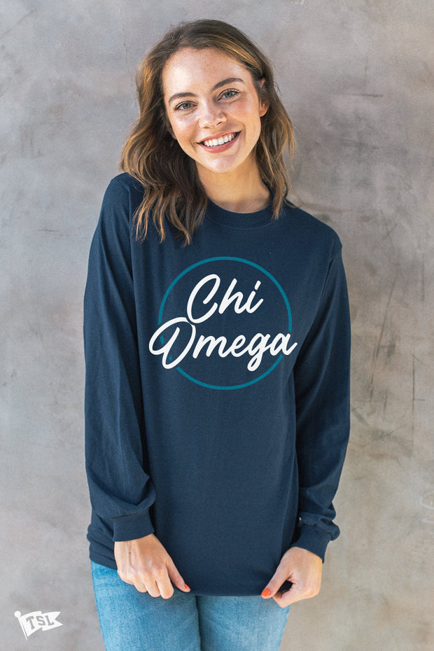 Chi Omega Stamp Long Sleeve