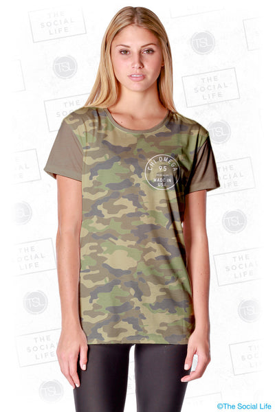 Chi Omega Vintage Camo Scoop Tee