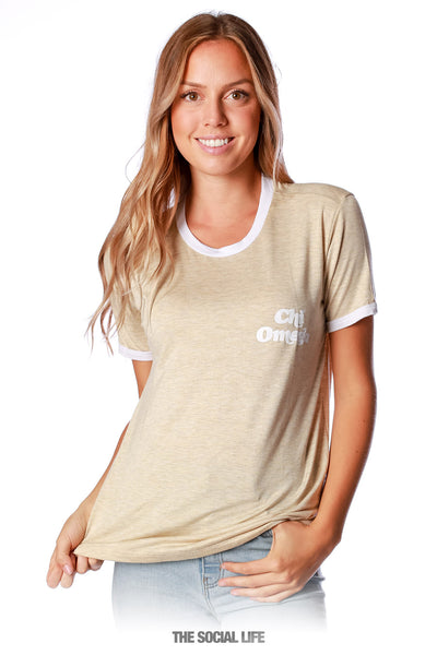Chi Omega Groovy Relaxed Ringer Tee