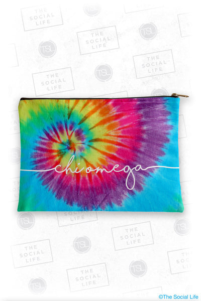 Chi Omega Tie Dye Cosmetic Bag
