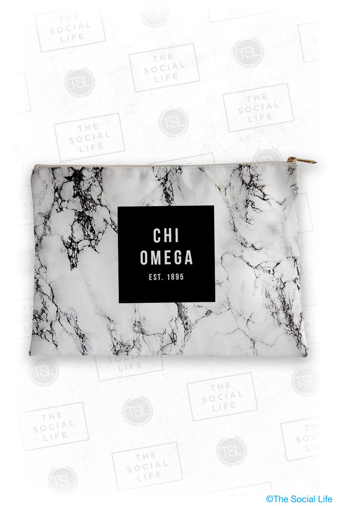 Chi Omega White Marble Cosmetic Bag