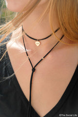 Chi Omega Leather Wrap Necklace