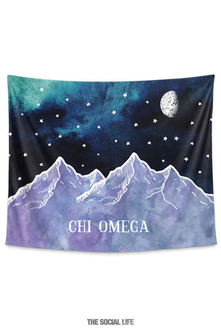 Chi Omega Mountain Night Tapestry