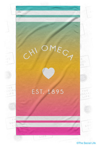 Chi Omega Rainbow Heart Beach Towel