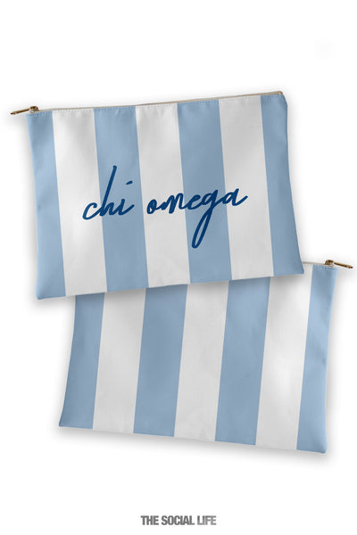Chi Omega Striped Cosmetic Bag