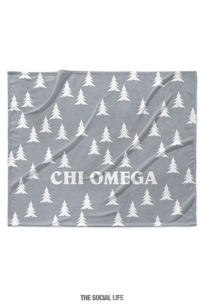 Chi Omega Grey Pines Velvet Plush Blanket