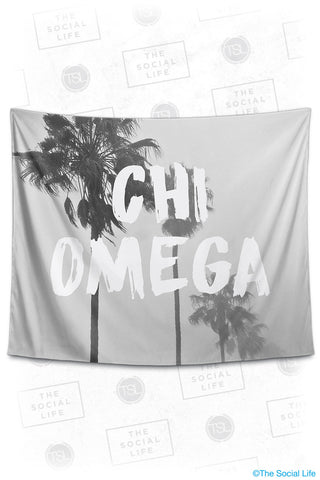 Chi Omega Palm Mist Tapestry