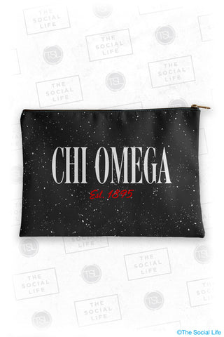 Chi Omega Speckle Cosmetic Bag