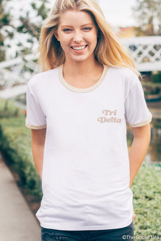 Tri Delta Groovy Relaxed Ringer Tee