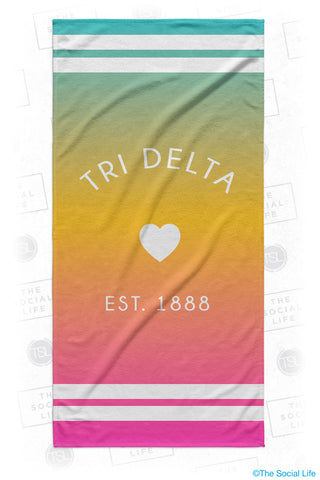 Delta Delta Delta Rainbow Heart Beach Towel