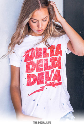 Delta Delta Delta Electric Vintage Distressed Tee