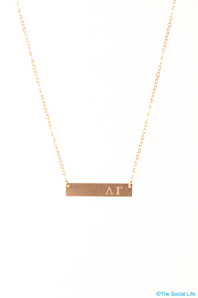 Delta Gamma 14K Gold Nameplate Necklace