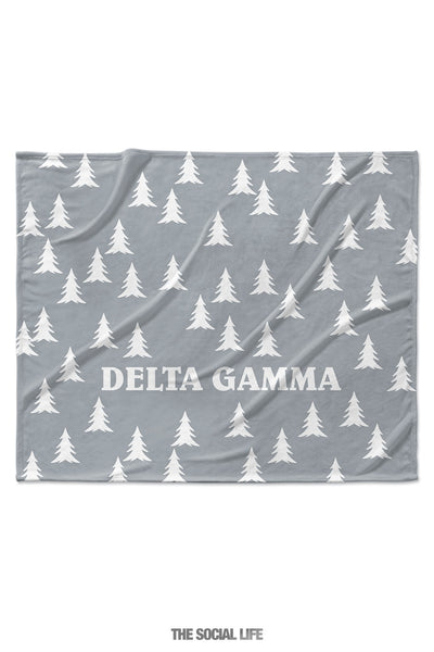 Delta Gamma Grey Pines Velvet Plush Blanket