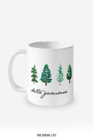 Delta Gamma Watercolor Pines Mug
