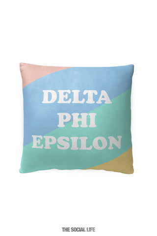 Delta Phi Epsilon Pastel Colorblock Pillow